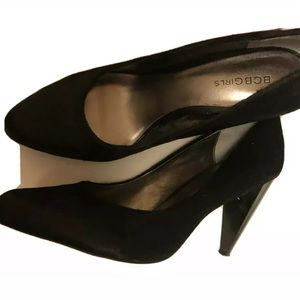 "BCBGirls Black Pumps 4"" Heel Calf Hair MK330A"